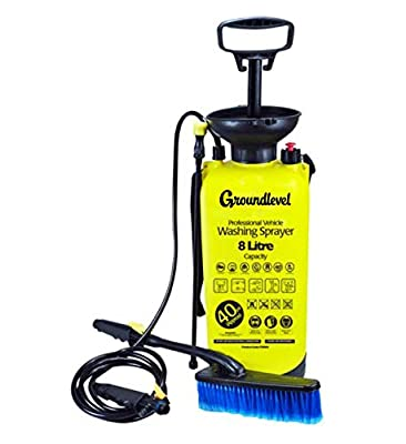 Groundlevel Portable 8 Litre 40 PSI Car , Bike & Window Cleaning Pressure Washer ,With Extended Spray Nozzle ,Brush& Shoulder Strap by groundlevel