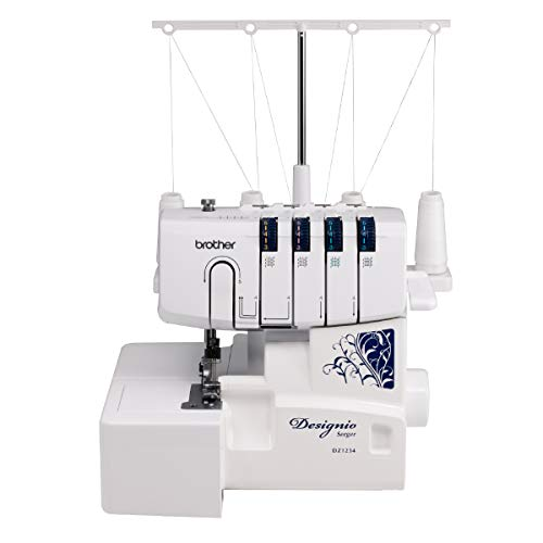 Brother DZ1234 Serger, Metal Frame Overlock Machine 1,300 Stitches Per Minute, Removeable Trim Trap,...