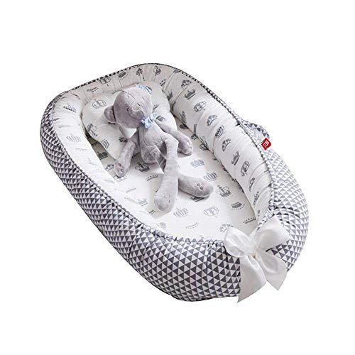 Flyinghedwig Tumbona para bebé, Nido Transpirable para recién Nacido, Funda extraíble con algodón orgánico Supersuave, Idea para recién Nacidos para Cosleeping