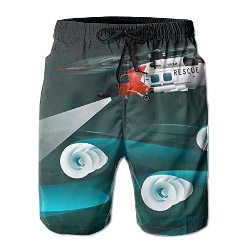 huibe Herren Badehose Hubschrauber der Retter Linksansicht Rettungsfloß Palne Surfing Beach Board Shorts Badebekleidung, Größe XL
