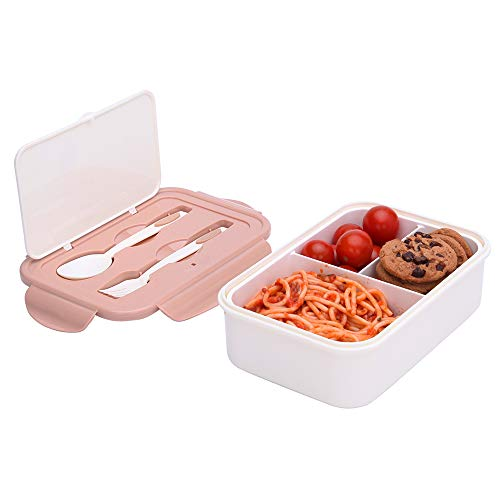 1000 ml Brotdose für Kinder Und Erwachsene, Wiederverwendbarer Bento Box Lunchbox mit 3 Fächern und Besteck, Vesperdose Mikrowelle Heizung (Braun)