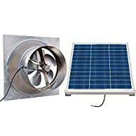 Solar Powered Attic Fan - 24 Watt Gable Exhaust Vent - Natural Light With Panel