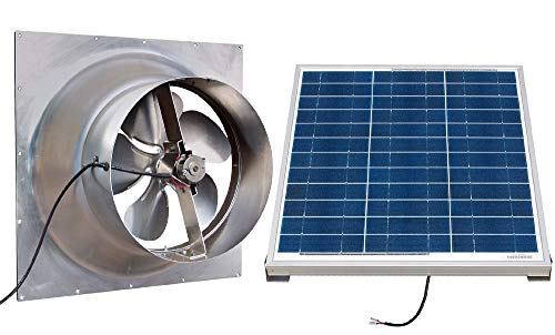 Solar Powered Attic Fan - 24 Watt Gable Exhaust Vent - Natural Light With Panel