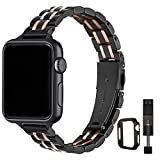 STIROLL Thin Replacement Band Compatible for Apple Watch 38mm 40mm 42mm 44mm, Stainless Steel Metal Wristband Women Men for iWatch SE Series 6/5/4/3/2/1 (Black+Rose Gold, 42mm/44mm)