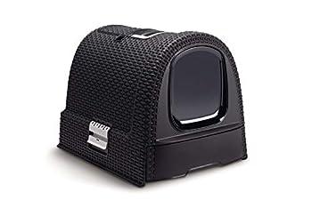 CURVER | Maison de toilette pour chat, Anthracite, Pet rattan, 51,5x38,5x40 cm