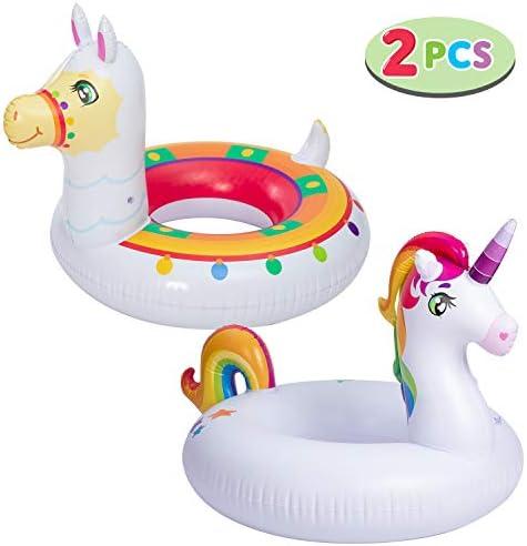 JOYIN Inflatable Unicorn Llama Inflatable Pool Float 2 Pack 35 3 Fun Beach Floaties Swim Party product image