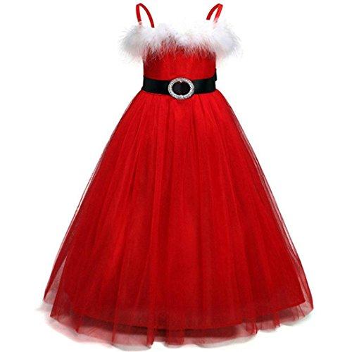 Weihnachten Mädchen Kleid, Honestyi Winter Kids Baby Mädchen Princess Weihnachten Outfits Kleidung Netto Garn Rock Festlich Kleid (Rot, 4T/120CM)