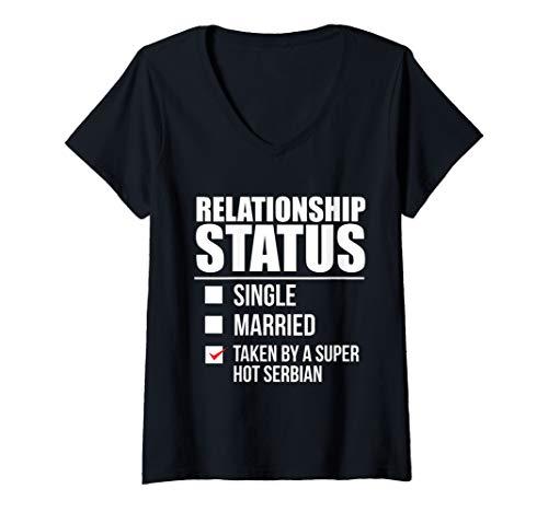 Damen Beziehungsstatus von heißem serbischen Serbien T-Shirt mit V-Ausschnitt