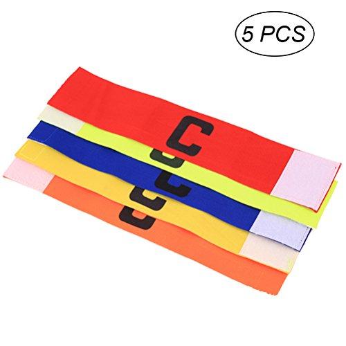 VORCOOL 5 Piezas de fútbol Soccer capitanes brazaletes y diseño anticaída para Adultos y jóvenes de 5 Colores