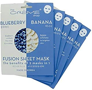 The Crème Shop - Anti-Aging & Brightening Blueberry & Banana Fusion Sheet Mask - 5 Piece Set
