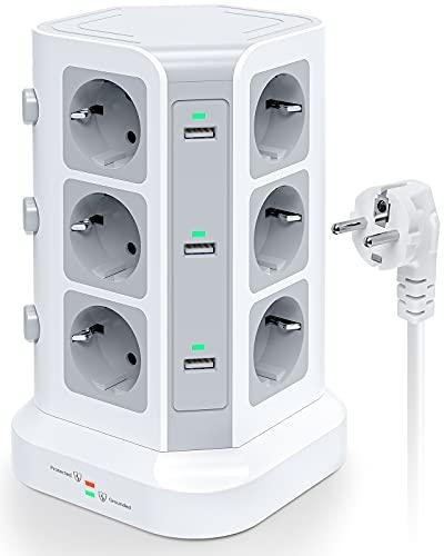 KOOSLA 12 Fach Steckdosenleiste (4000W/16A), 6 USB Mehrfachsteckdose mit Überspannungsschutz, einzeln schaltbarer Steckdosenturm für Büro Küche Tisch, 2M Kabel, Weiß