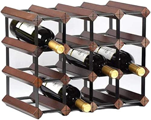 N/Z Home Equipment Wine Rack Wine Racks Free-Standing Metal Wine Bottle Holder for The Bar Kitchen Ndash Wine Storage Rack with 3 Levels for up to 16 Bottles Wine Red (Color : Wood Color)