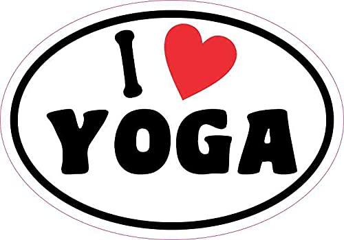 by Unbranded Pegatina ovalada de 12,7 x 8,9 cm, con texto en inglés 'I Love Yoga' para parachoques de coche, motocicleta, camión, ventana, pegatinas de jardín