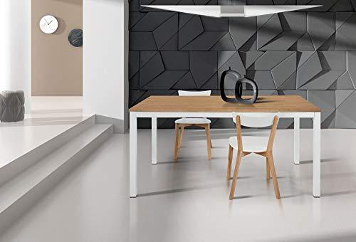Milani Home s.r.l.s. Tavolo da Pranzo Moderno di Design Allungabile Cm 90 X 160/220 Rovere Struttura...