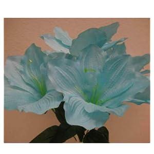 Artificial Silk Flower Blue Amaryllis s 16″ Bouquet Get 2 Bushes MG019