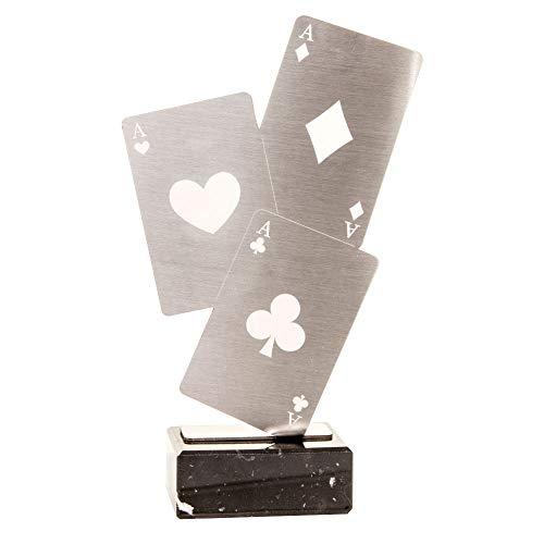Trofeos Martínez - Trofeo de Acero Inoxidable con Base mármol Cartas Poker. (23cm)