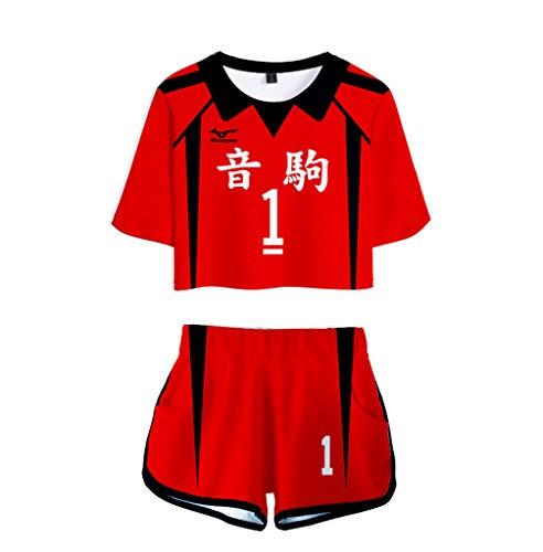 2 Piece Haikyuu Cosplay Costume Kozume Kenma Nekoma High School Uniform Crop Top Shirt Shorts Pants Sets 1 XXL