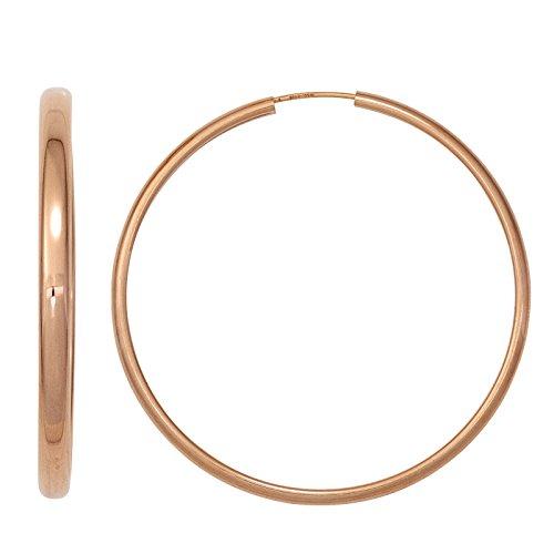 JOBO Damen-Creolen aus 925 Silber rosegold vergoldet Durchmesser 50 mm