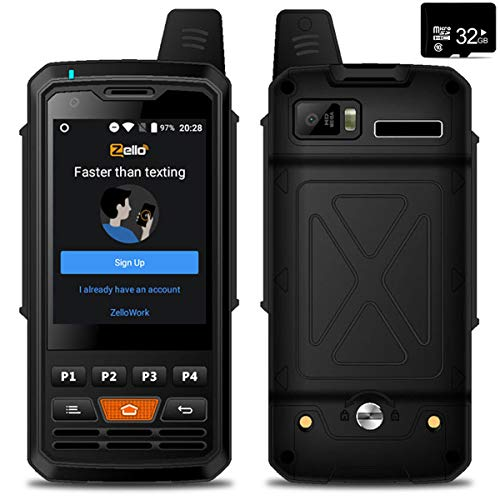 Unlocked 4G LTE Android Smartphone Rugged Mobile Two-Way Radio Walkie Talkie ZELLO POC PTT Waterproof,WiFi,Bluetooth,SOS Button,Free Memory Card
