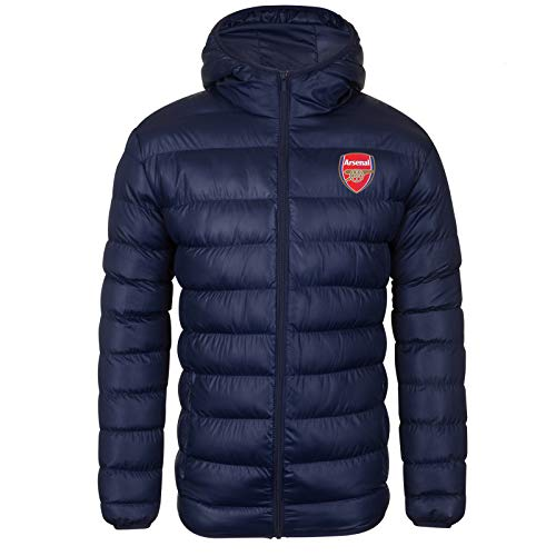 Arsenal FC Official Soccer Gift Mens Quilted Hooded Winter Jacket Navy Large