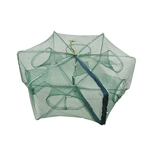 Faltbarer Köder Cast Mesh Trap Net Tragbare Fischernetz Garnelen Käfig für Fisch Hummer Garnele Minnow Crayfish Crab Schwimmkreis 6 Löcher