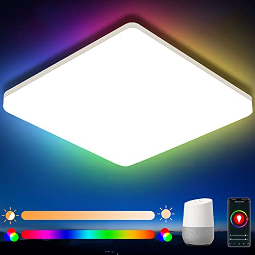Oeegoo Smart Ceiling Light LED Flush Mount, Compatible with App Control Alexa Google Home, 15W Dimmable Front RGB Color Low Profile Square for Kids Room Hallway Bedroom