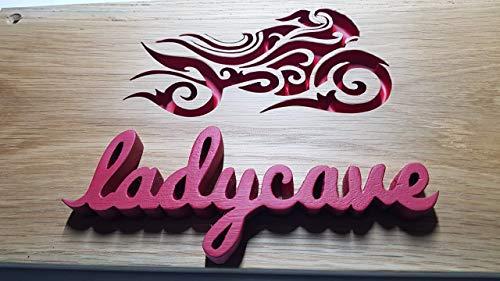 Solid Oak handmade lady cave biker sign