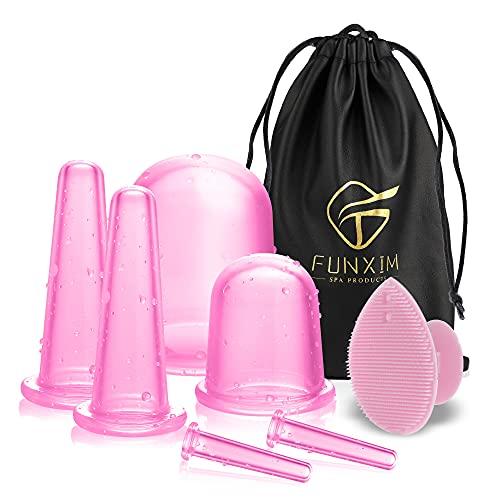 Silikonplugg, Anti Cellulite Cups borttagare massageapparat med kroppsskrapning, vänd ansiktet, skrubba ögat, ansiktsrengöringsborste och sladdpåse, 7 st anti-aging rosa