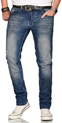 A. Salvarini Designer Herren Jeans Hose Regular Slim Fit Style Jeanshose Stretch, Dunkelblau Used, 36W / 34L