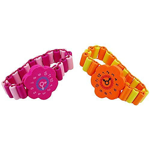 TOC - Pulsera para niños (2 unidades), diseño de flores, color amarillo, naranja y rosa