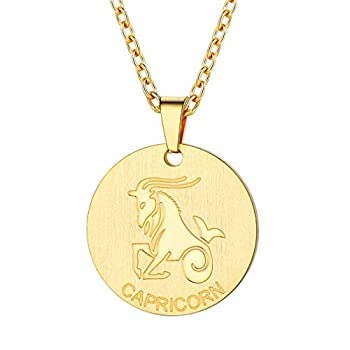 FaithHeart Gold Capricorn Necklace for Girls 18K Gold Plated Capricorn Zodiac Star Sign Coin Pendant Necklace Birthday Delicate Lucky Charms Layered Necklace  Gold