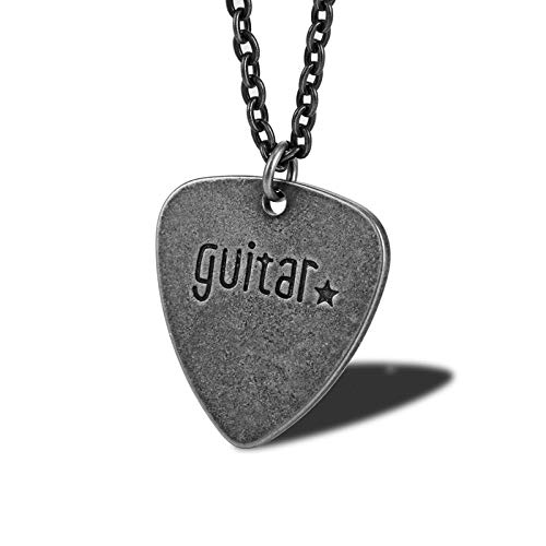 Daesar Collar Unisex Púa de Guitarra Ccon Estrella Collares Pareja Acero Inoxidable Colgantes Unisex Plata Vintage