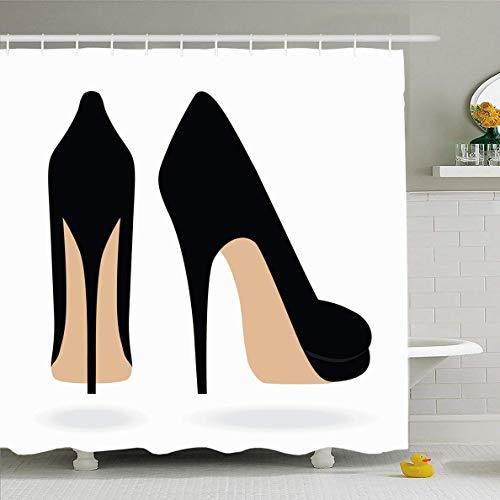 N/A Duschvorhang, 182,9 x 182,9 cm, Stiletto High Heel Schuhe, Schwarz, 1 Paar Glamour-Design wasserdichte Polyester-Vorhänge Set mit Haken