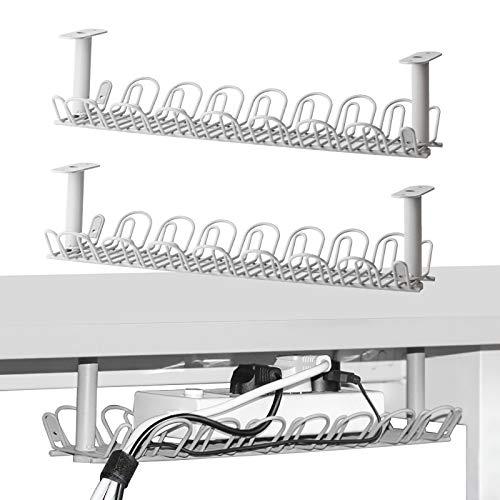 Kabel-Management-Wanne, 36,5 cm Untertisch-Kabel-Organizer für Kabel-Management, Schwermetall-Kabel-Ablage für Schreibtische, Büros und Küchen (grau), Kabelwanne, 2 Stück