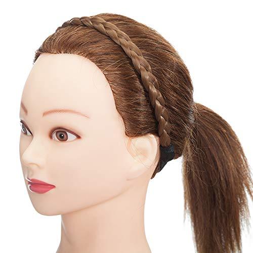 Haarverlängerung Geflochtenes Stirnband Geflochtenes Haarteil Dutt Haargummi mit Haaren Glatt Haarknoten Hochsteckfrisuren für Frauen Hellbraun