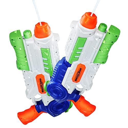 Ucradle 2 × Wasserpistole, Wasserpistolen groß 1200ML mit 8-10 Meter Reichweite für Kinder und Erwachsene, Water Gun Blaster Spielzeug für Sommerpartys im Freien, Strand, Pool, Garten Strandspielzeug