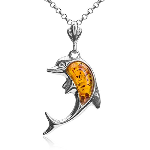 Ian and Valeri Co. Amber Sterling Silver Dolphin Pendant Necklace Chain 18'
