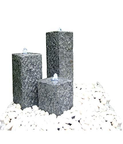 Dehner Gartenbrunnen Nizza mit LED Beleuchtung,25/35/45 x 14 x 14 cm,Granit, grau