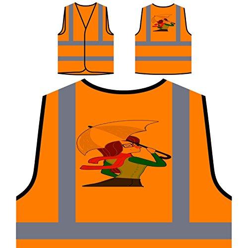 Regen Herbst Regenschirm Personalisierte High Visibility Orange Sicherheitsjacke Weste o755vo