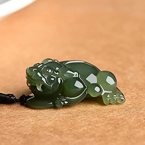 LVYAN Jade Natural Un Colgante de Jade Verde Tallado a Mano Jin Chan 3 Patas Toad Jade Colgante Jadeíta Collar de Jade Hombres Mujeres Joyería