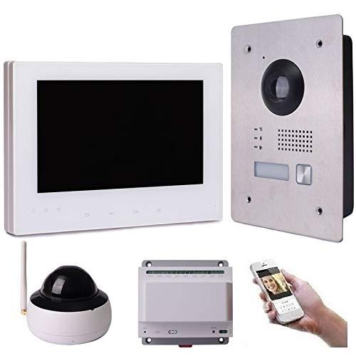 2 Draht IP Video Türsprechanlage Gegensprechanlage 7\'\' Monitor Weiß Kamera 170° HD mit oder ohne Überwachungskamera, Farbe: 1x7\'\' Monitor + 1x Kamera