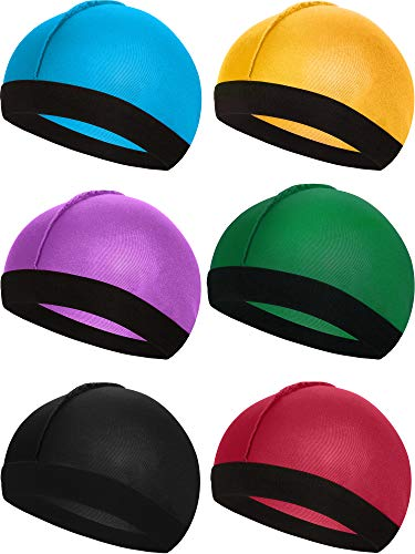 6 Pieces Elastic Band Silky Wave Caps for Men Silk Material for 360...