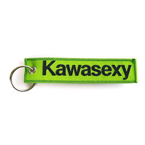 RENEGADE Motorrad Schlüsselanhänger aus Stoff mit Schlüsselring Bestickt & Kratzfest (130 x 30 mm, grün). Ideal für Ihr Motorrad (Kawasexy grün)