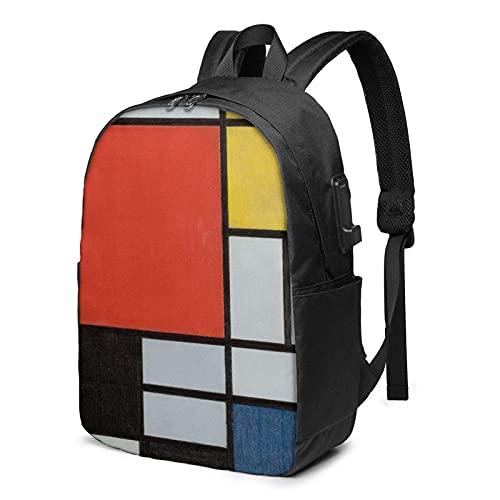 XCNGG Laptop Rucksack, 17 Zoll Travel Leichter Rucksack mit USB-Ladeanschluss Zusammensetzung in Rot Gelb Blau und Schwarz