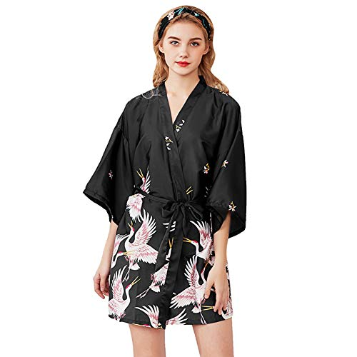 Damen Morgenmantel Kimono Bride Kurzarm Bademantel Satin Nachthemd Nachtwäsche Pyjama Damen Flamingo