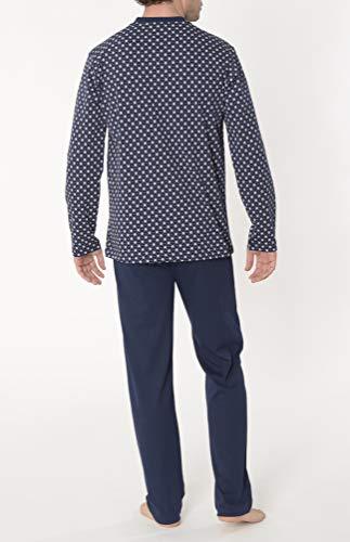 El Búho Nocturno - Pijama Hombre Largo Premium Tapeta Punto Estampado Marino Talla 4 (L) Flores 100% algodón