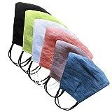 Supertong 6 Stück Mundschutz Unisex Erwachsene Mehrfarbig Bequem Baumwolle Leinen Wiederverwendbar Waschbar Atmungsaktiv Bandanas Kopftuch(Mehrfarbig-6pc)