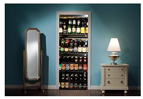 3D puerta mural nevera llena de cervezas etiqueta de la puerta, papel pintado pared impresión calcomanía deco, puerta pared mural foto autoadhesivo