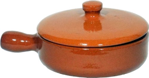 Amazing Cookware SB135 - Padella con Coperchio in Terracotta Naturale, 15 cm