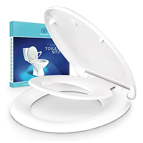 WIRKE®   Premium Familientoilettensitz mit WC Sitz für Kinder – Antibakteriell – Klodeckel abnehmbar – Mit Absenkautomatik – Familienklobrille weiss